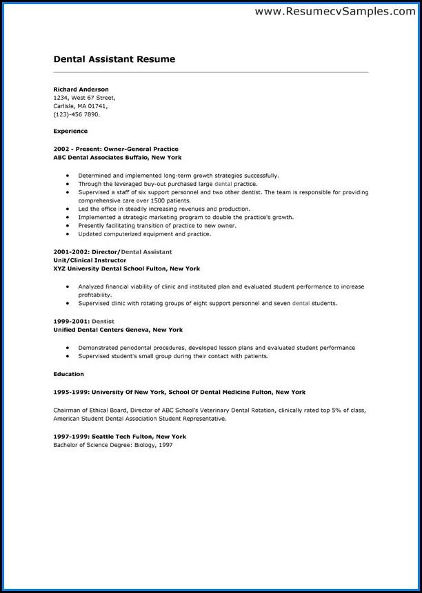 Dental School Resume Template