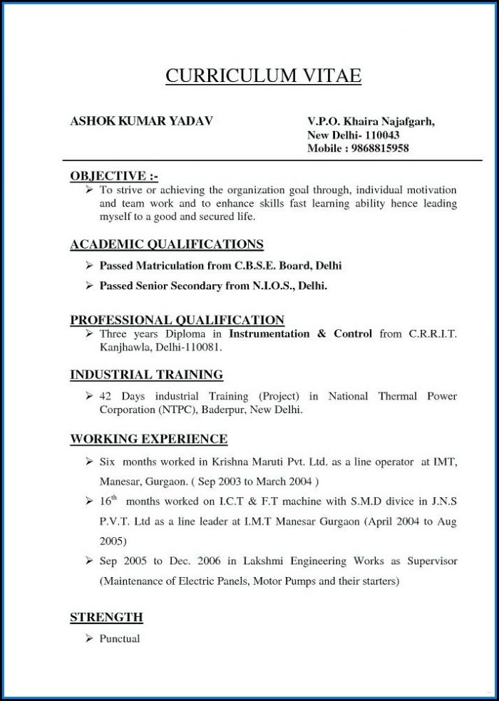 Different Types Of Resume Format Free Download