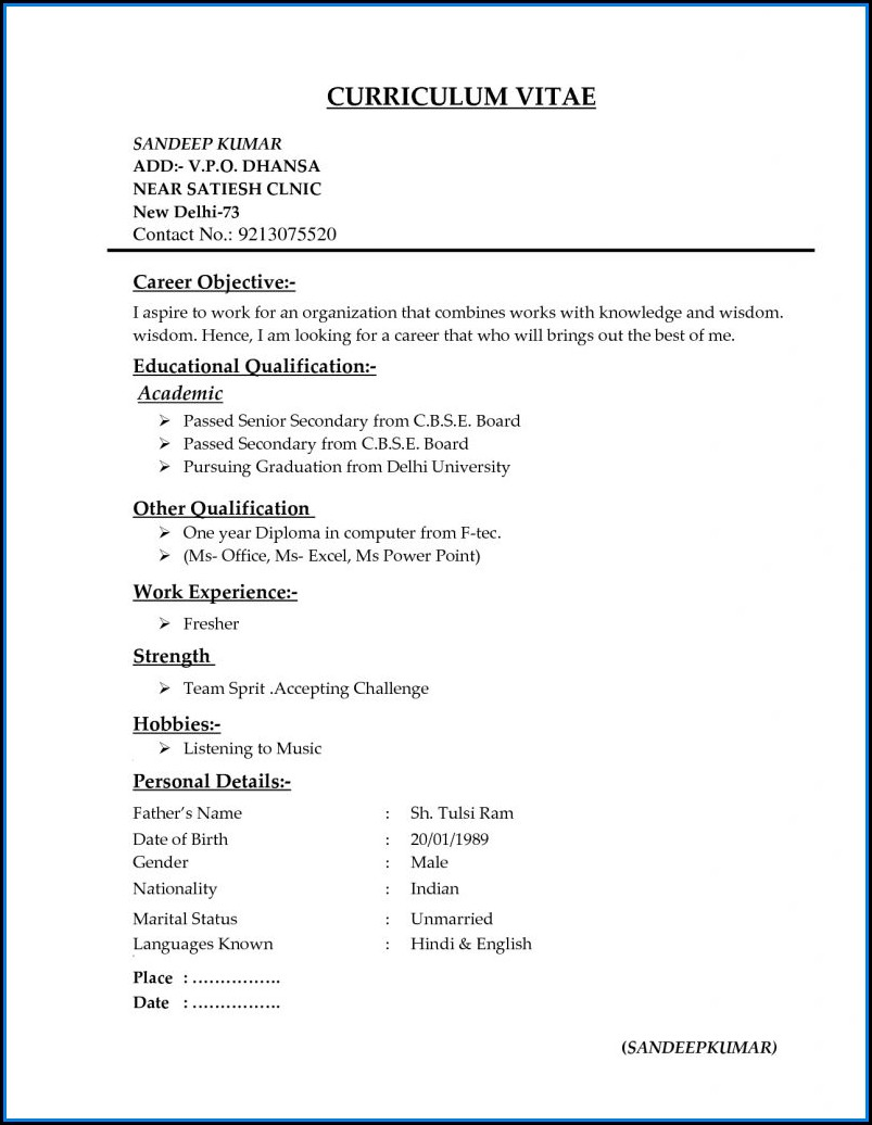 Different Types Of Resumes Free Download