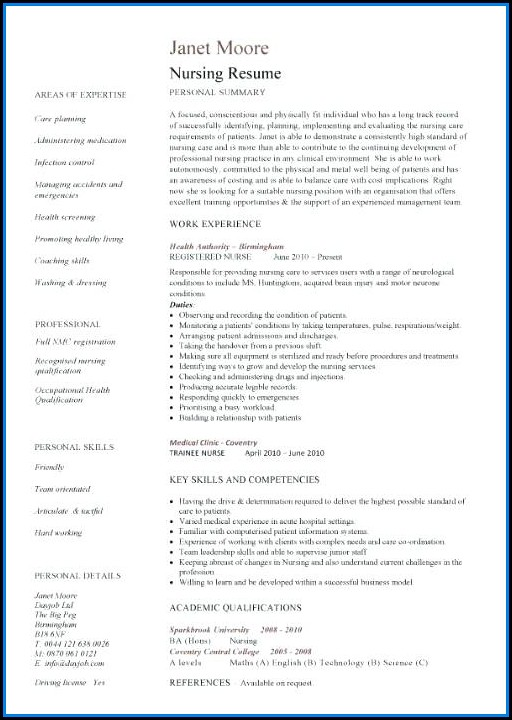Diploma Nursing Resume Format Free Download