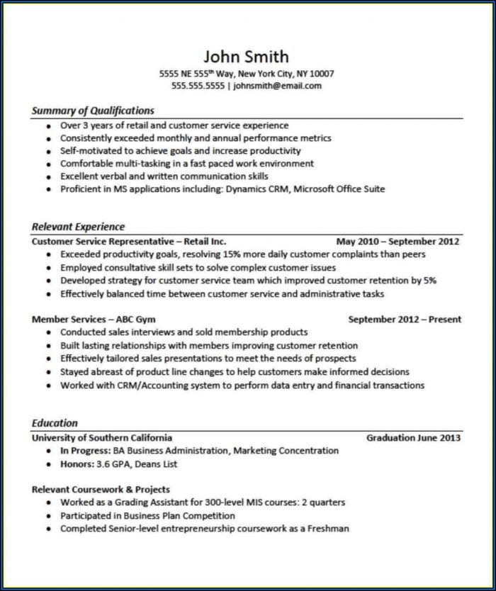 Example Of Good Resume With No Job Experience