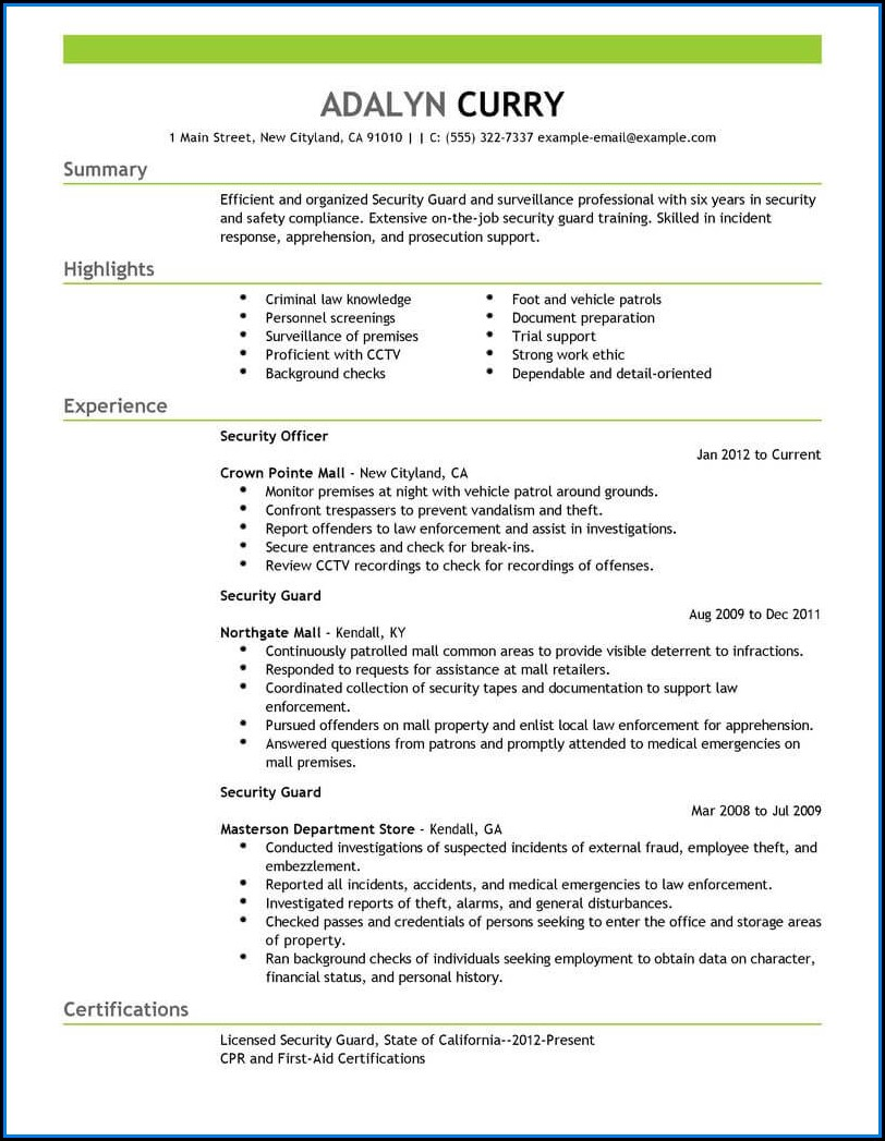 Example Of Security Guard Resume