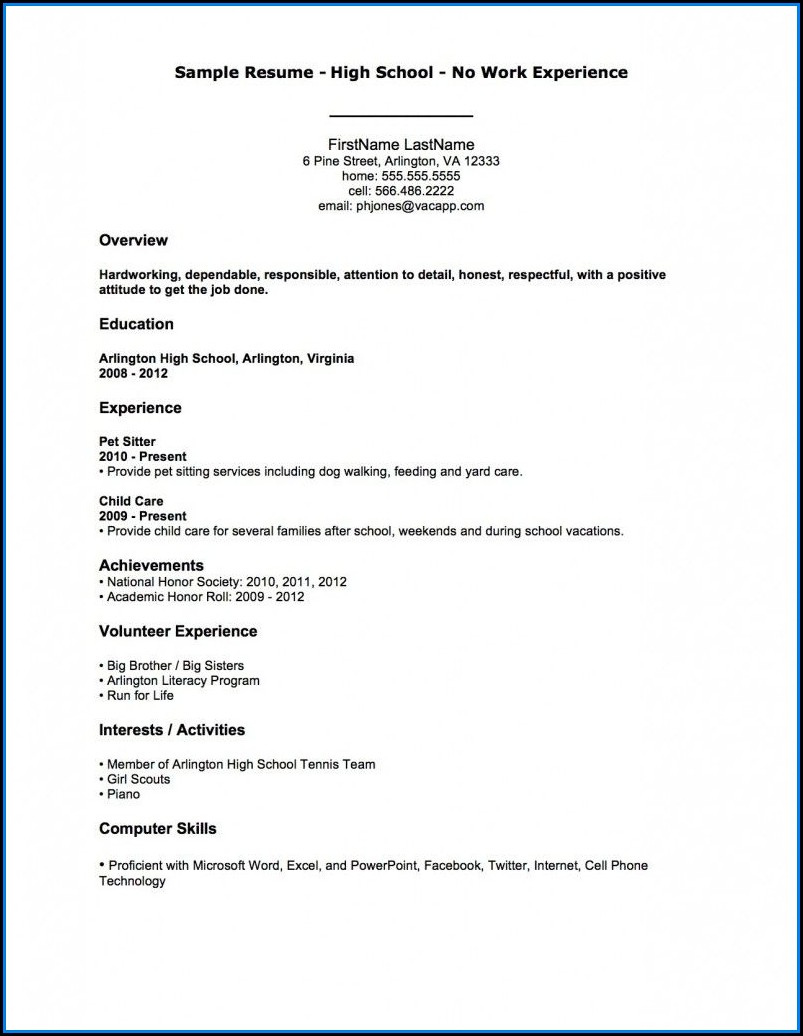 Example Resumes For Jobs Without Experience
