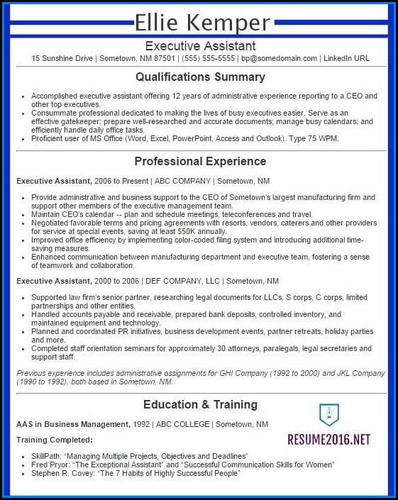 Executive Resume Examples 2016