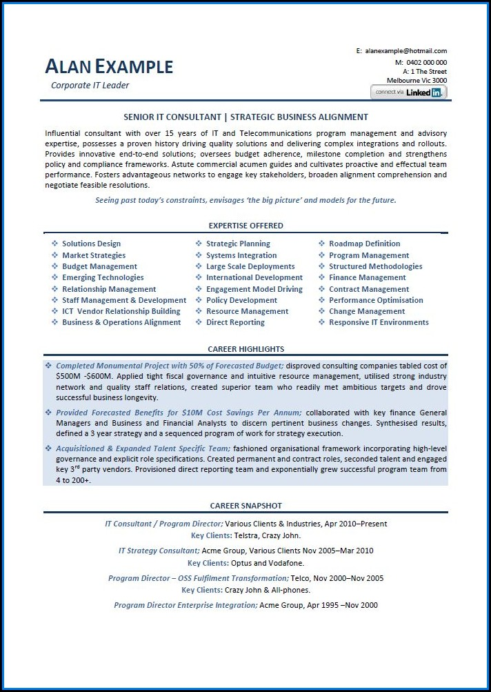 Executive Resume Examples Australia