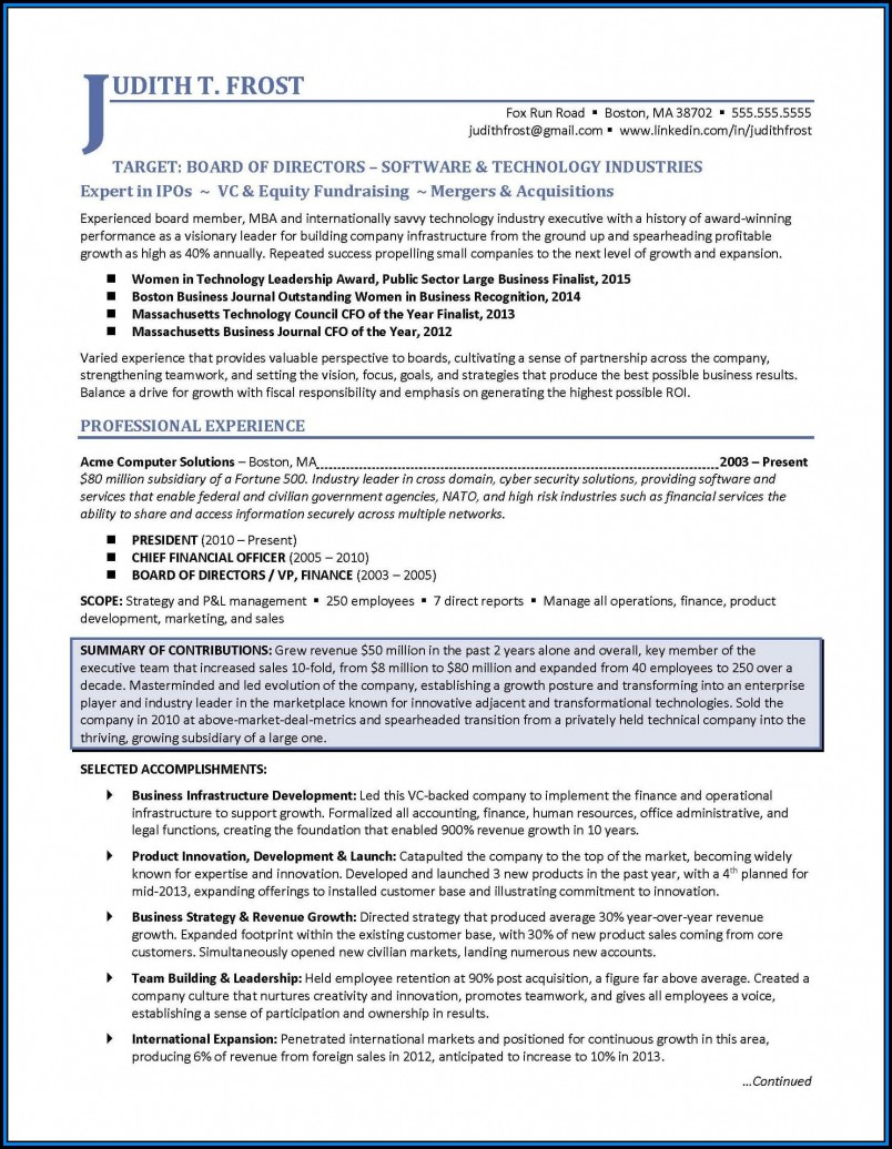 Executive Resume Formats 2017