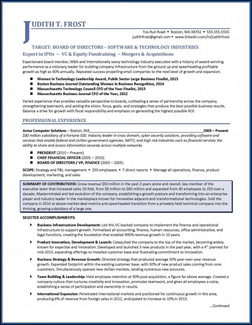 Executive Resume Formats 2017