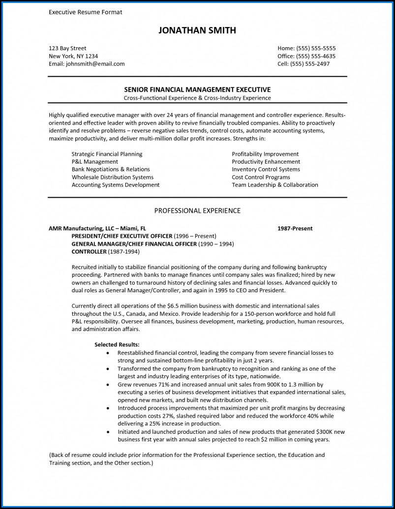 Executive Resume Formats