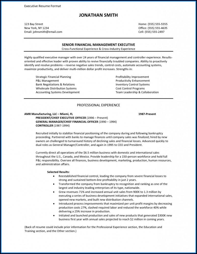 Executive Resume Formats