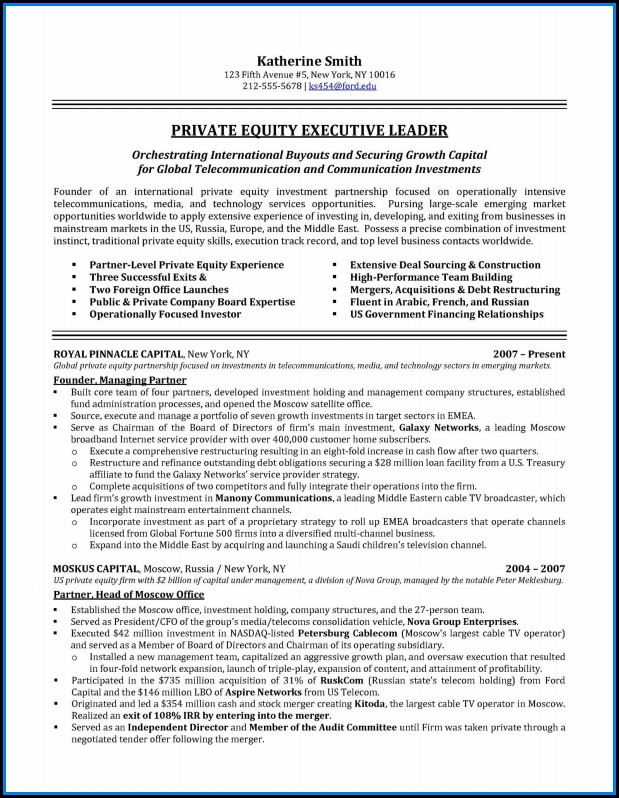 Executive Resumes Sample