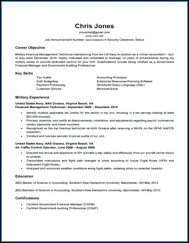 Former Military Resume Templates