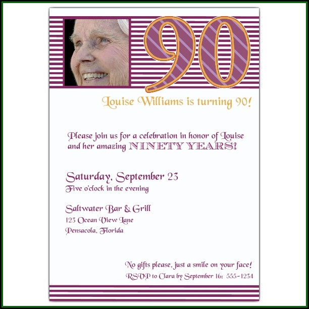 90 Birthday Invitation Templates