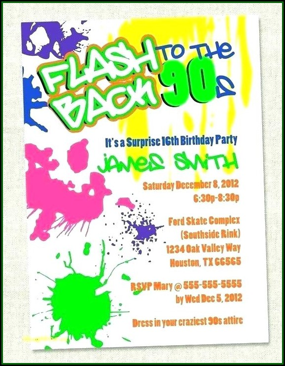 90s Birthday Party Invitation Template