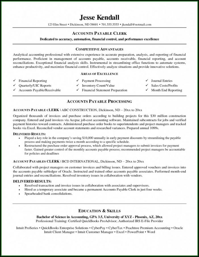 Accounts Payable Resume Templates