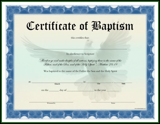 Baptism Certificate Template Word Free