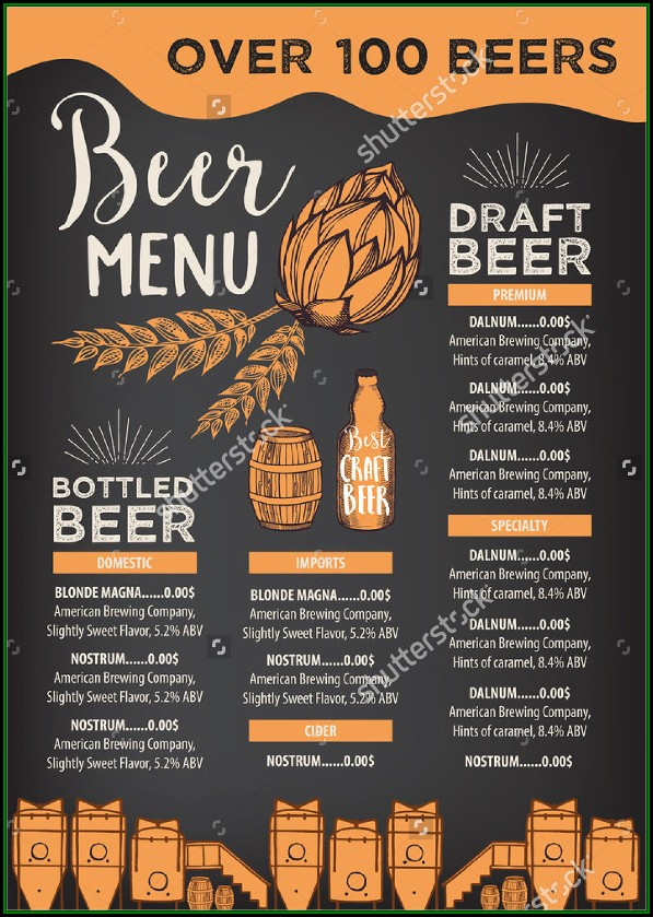 Beer And Wine Menu Templates