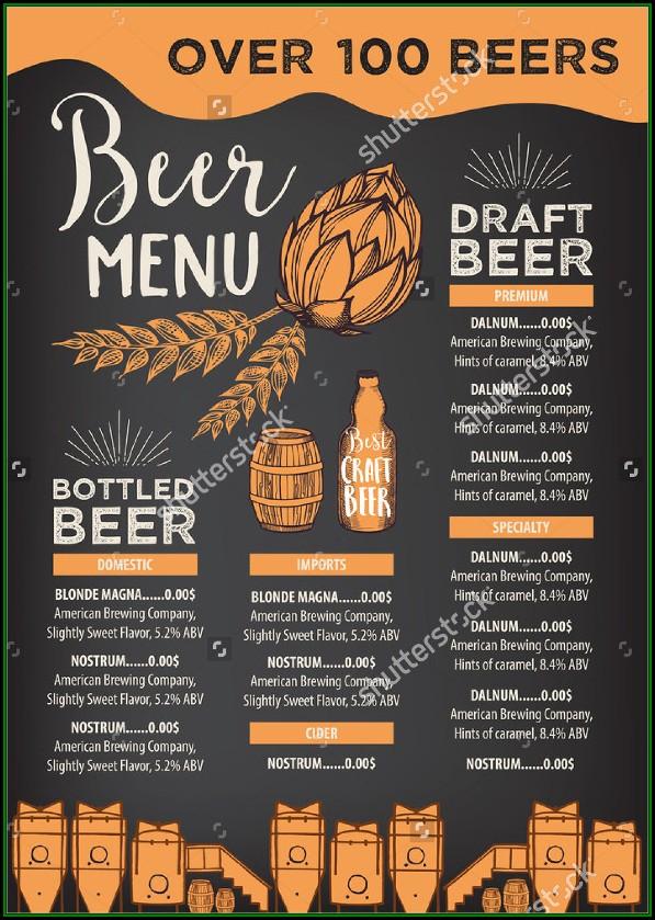 Beer And Wine Menu Templates