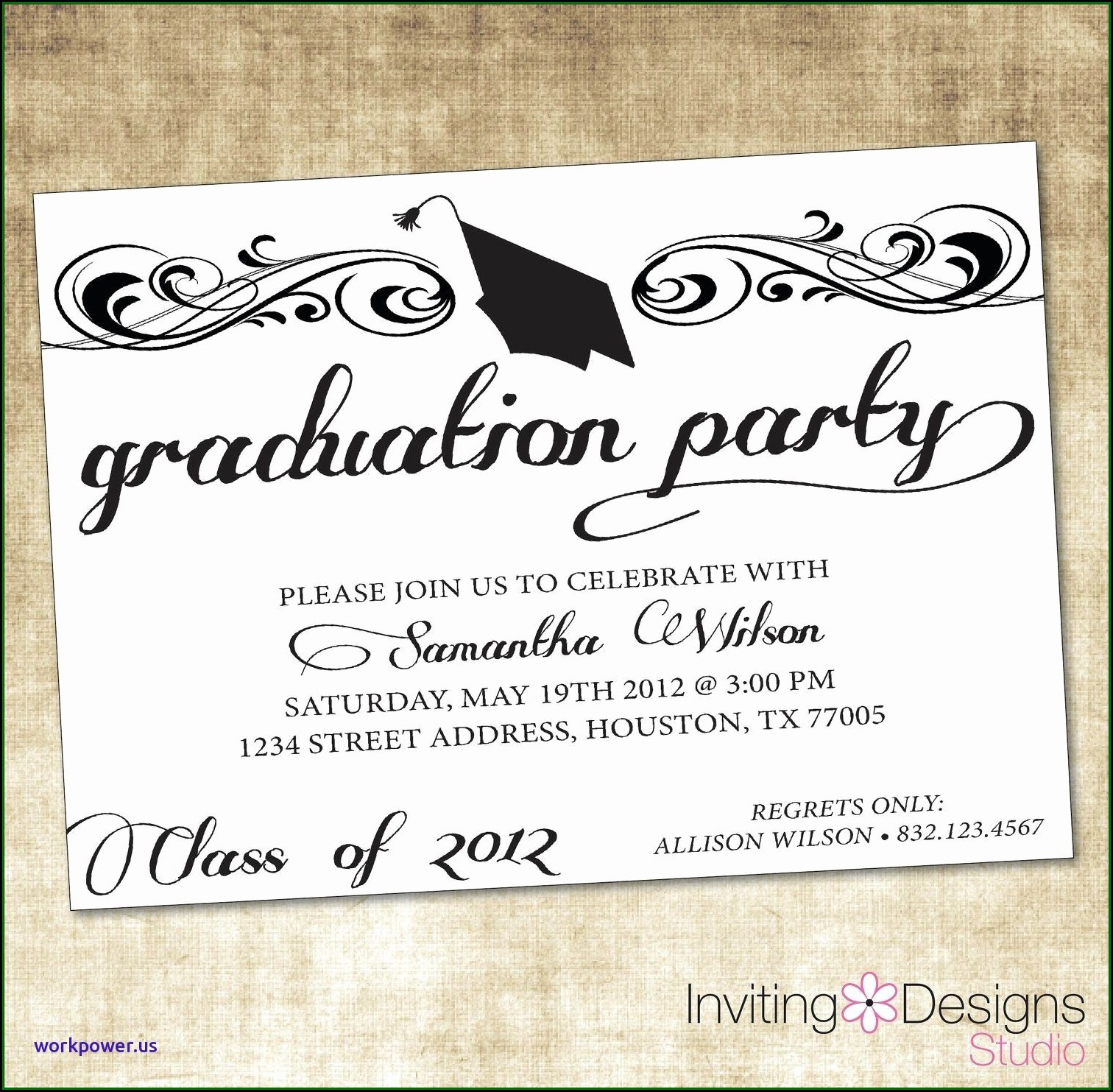 Black And White Graduation Party Invitation Templates