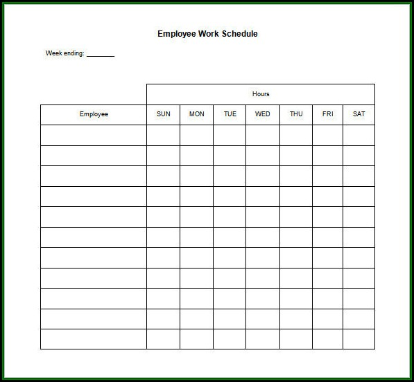 Blank Employee Schedule Form