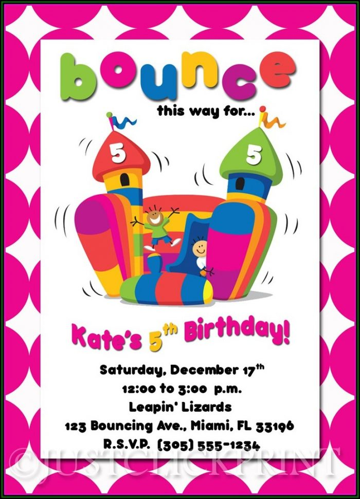 Bounce House Birthday Invitations Templates