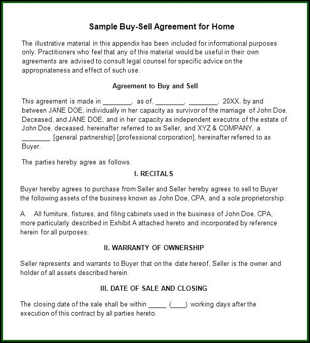 Buy Sell Agreement Template For Home