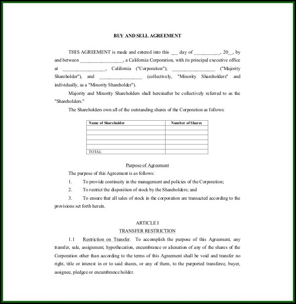 Buy Sell Agreement Template Free Download