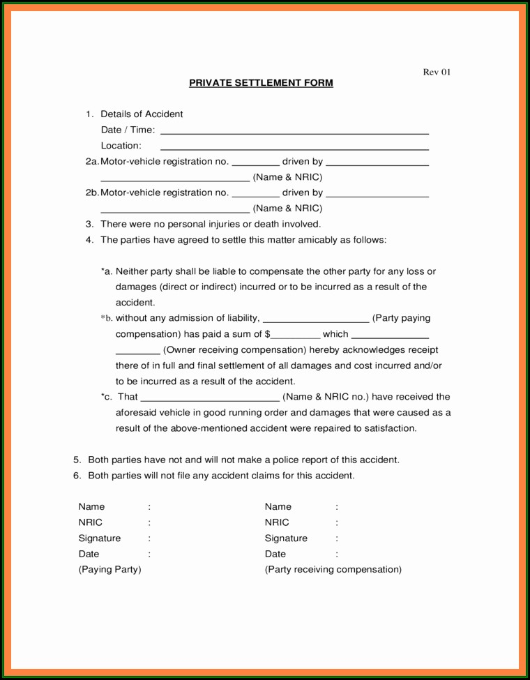 Car Accident Settlement Agreement Letter Template