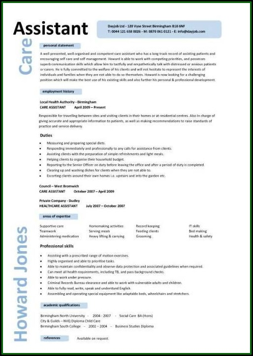 Caregiver Cv Template