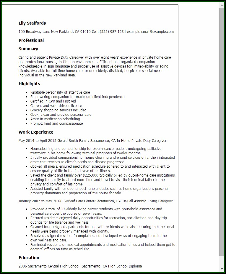 Caregiver Resume Templates