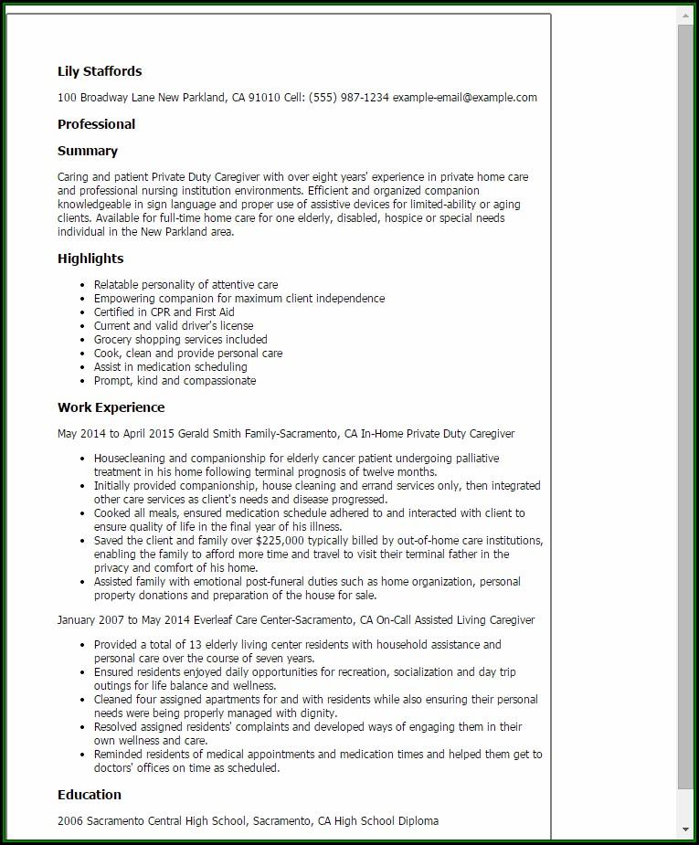 Caregiver Resume Templates