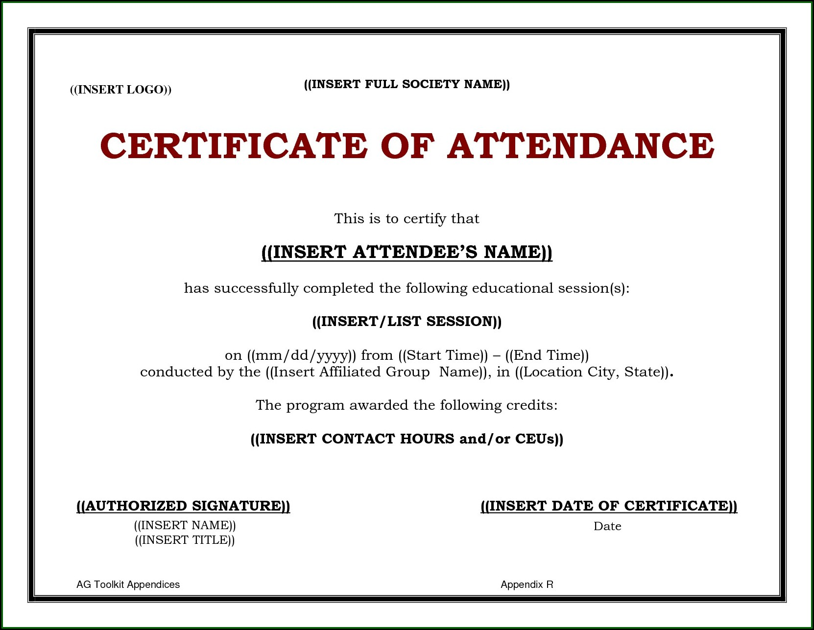 Cme Certificate Of Attendance Template