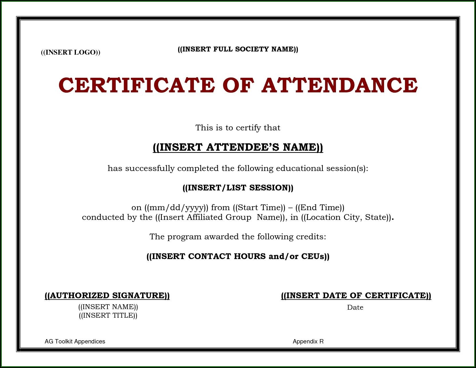 Cme Certificate Of Attendance Template