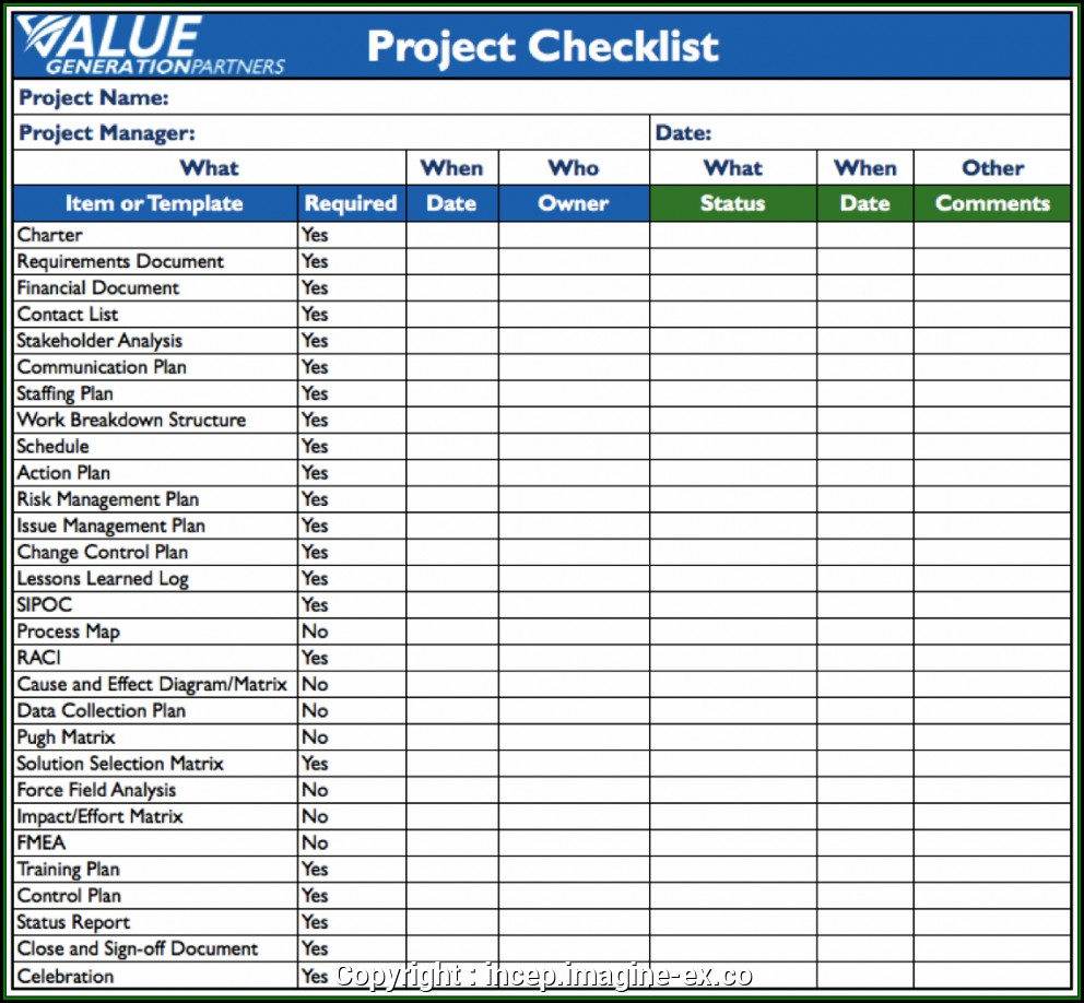 Construction Project Checklist Template Excel