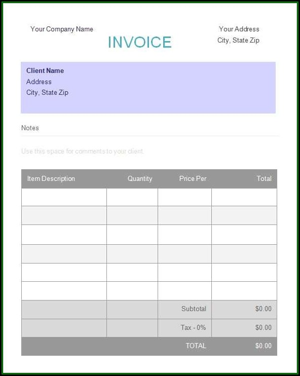 Deposit Invoice Template Excel