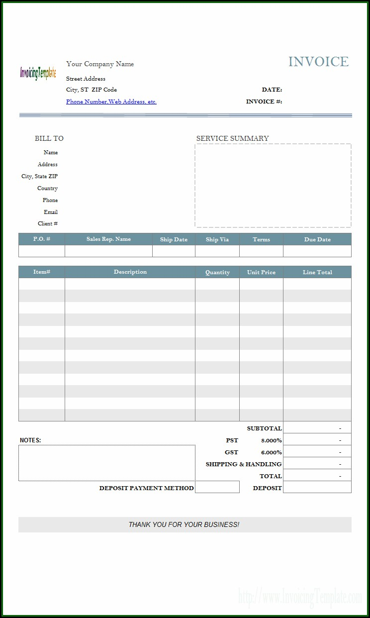 Deposit Invoice Template Uk