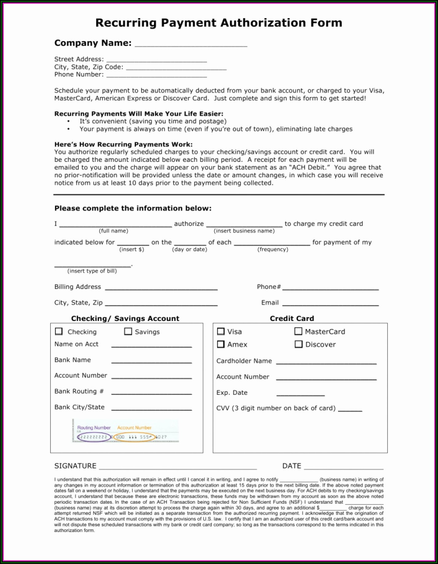 Direct Payment Authorization Form Template