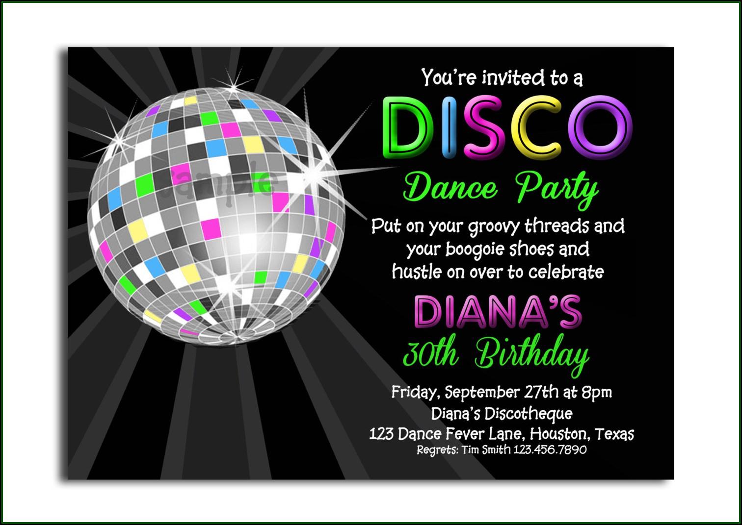 Disco Party Invites Templates Free