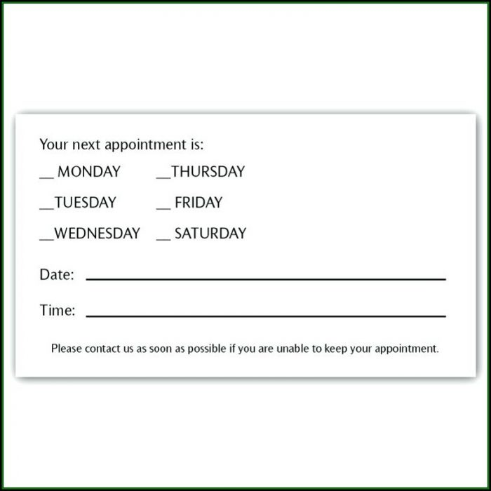 Doctor Appointment Reminder Card Template