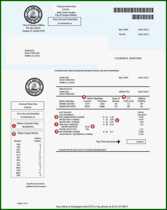 Blank Utility Bill Template Uk