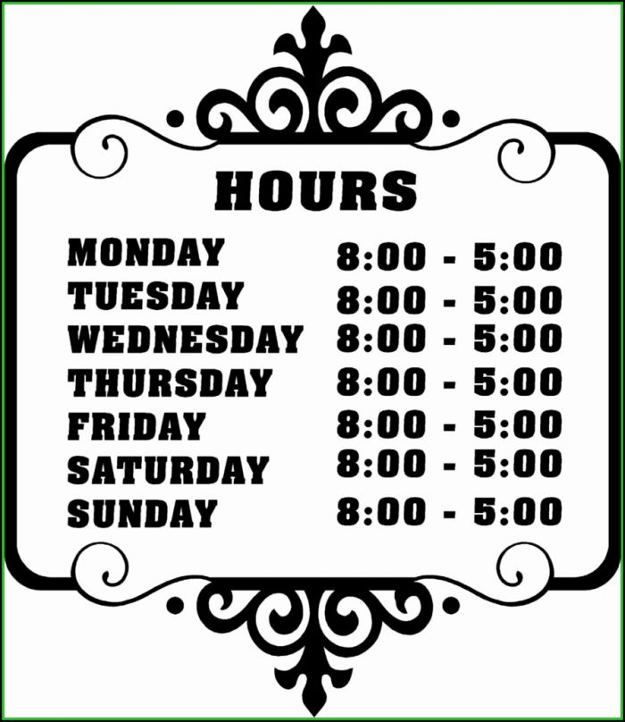 Business Hours Sign Template Microsoft Word