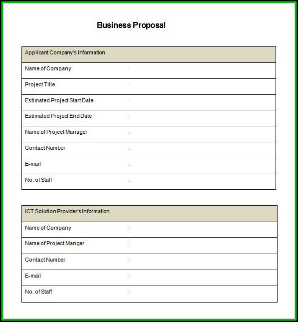 Business Proposal Template Pdf Free