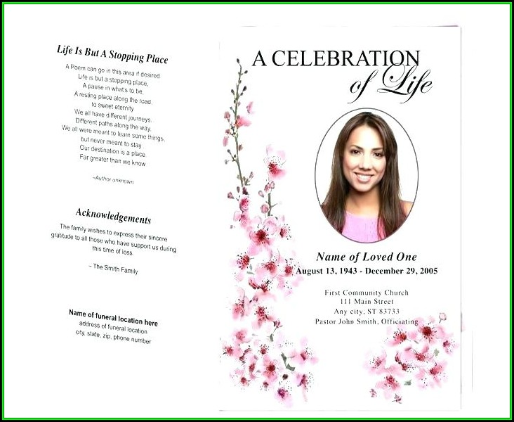 Celebration Of Life Template Publisher