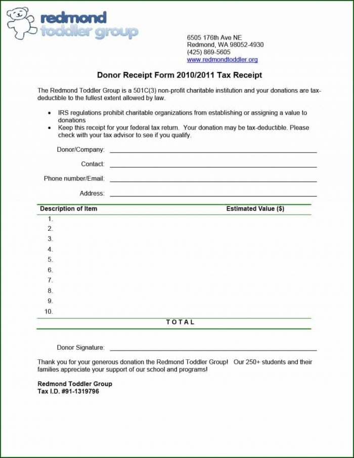 Charitable Donation Receipt Form Template