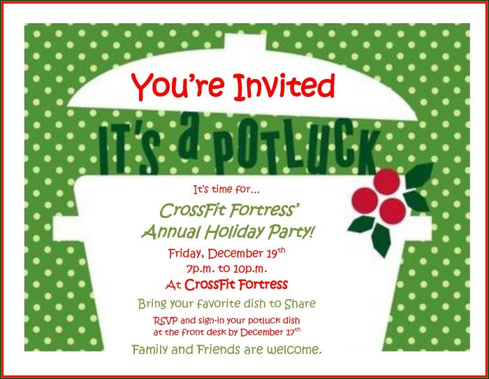 Christmas Potluck Invitation Template