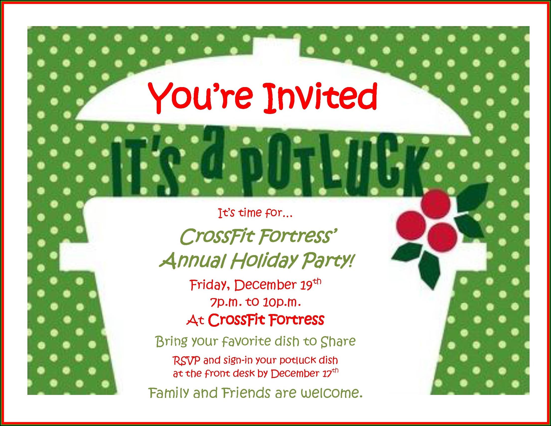 Christmas Potluck Invitation Template