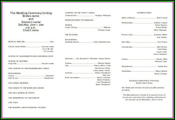 Church Wedding Program Template