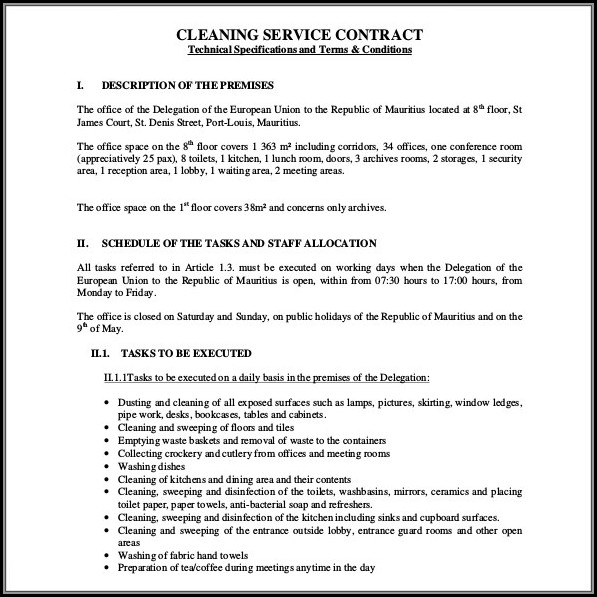 Cleaning Contract Template Canada