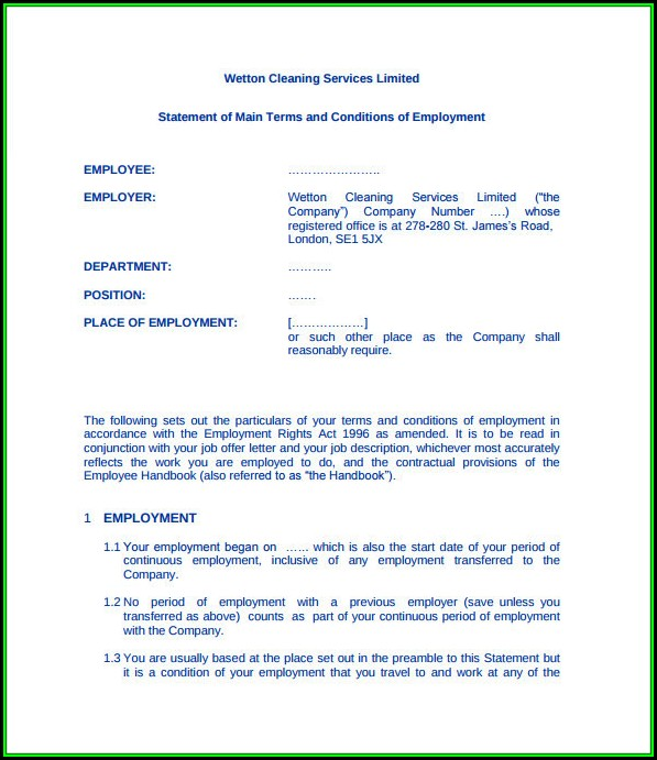 Cleaning Contract Template Uk Free