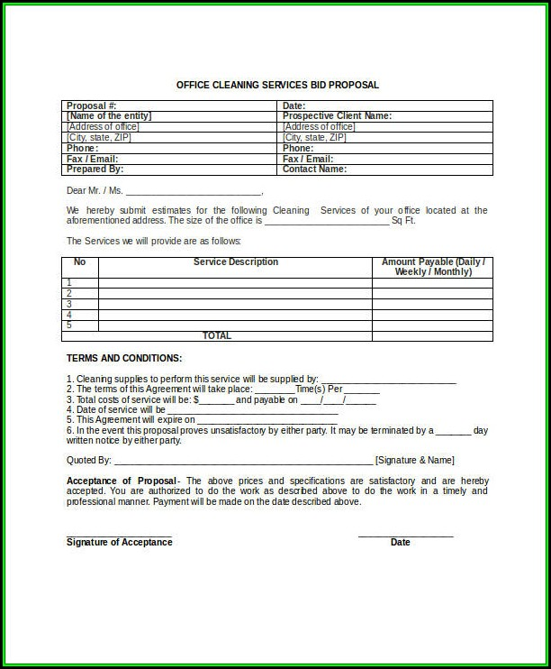 Cleaning Proposal Template Pdf