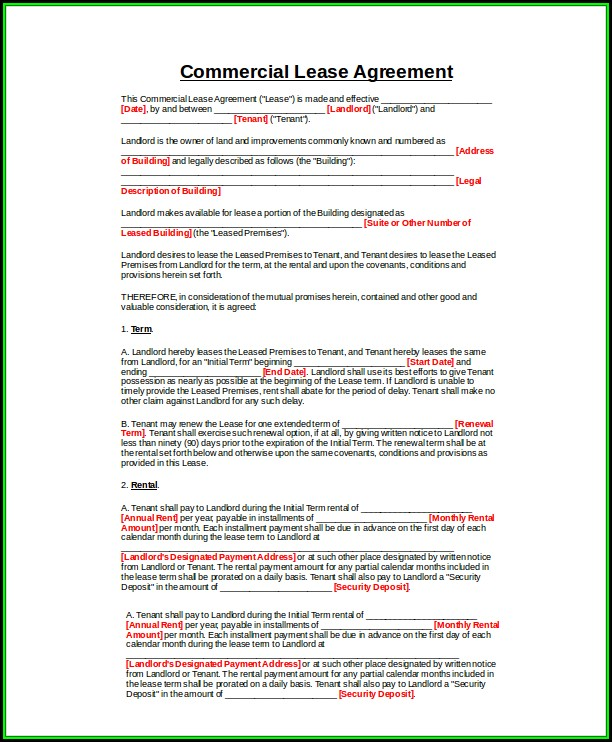 Commercial Lease Template Word Uk